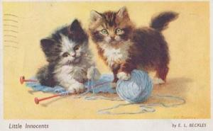 Cat Cats Playing With Blue String Ball Of Little Innocents Needle 1950s Postcard