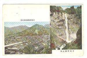 Aerial View of a hillside city and a waterfall in Japan, 00-10s