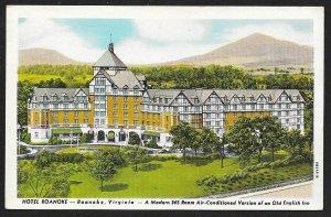 Hotel Roanoke Old English Inn Roanoke Virginia Unused c1948