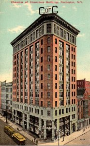 New York Rochester Trolleys At Chamber Of Commerce Building 1914