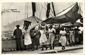 curacao, N.A., Vegetable and Fruit Market Afloat, Head Transport (1950s) RPPC