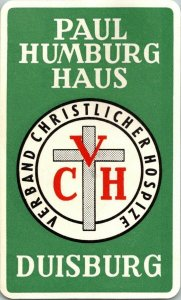 Germany Duisburg Paul Humburg Haus Vintage Luggage Label sk4722