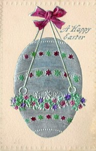 LP13   Easter Postcard  Silver Gilded Decorated Egg