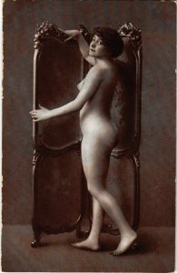 PC CPA RISQUE NUDE FEMALE, LADY POSING, VINTAGE REAL PHOTO POSTCARD (b10843)