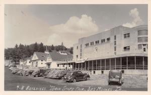 Des Moines IA~Iowa State Fair Grounds~4-H Buildings~Art Deco~1930-40 Cars~RPPC