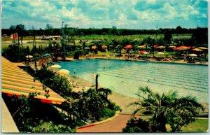 Houston, Texas Postcard SHAMROCK HOTEL Swimming Pool Scene c1950s Chrome Unused