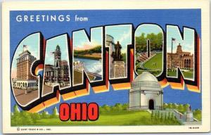 CANTON Ohio Large Letter Postcard McKinley Memorial Curteich Linen c1940s Unused