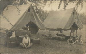 Military? Men Camping Unusual tents Suitcases Cots c1910 Real  Photo Postcard