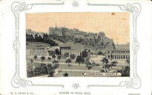 Woven in Silk Edinburgh Castle W. H. Grant Co. Coventry Postcard