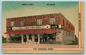AD Postcard PA Johnstown Frank's Economy Stores Market Ice Cream Price List AC5