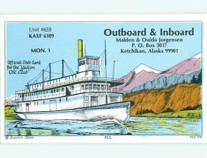 boat SHIP NAUTICAL - QSL HAM RADIO CARD Ketchikan Alaska AK t0951