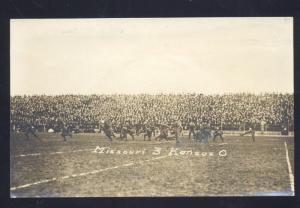 RPPC MISSOURI TIGERS VS. KANSAS JAYHAWKS 1913 FOOTBALL GAME REAL PHOTO POSTCARD