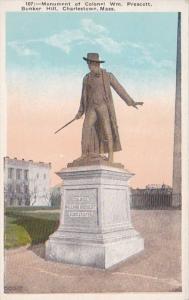 Massachusetts Charlestown Monument Of Colonel William Prescott Bunker Hill
