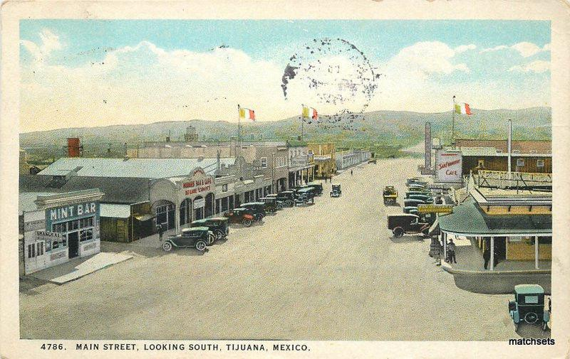 1925 Tijuana Mexico Main Street looking south Christiance Teich postcard 7161