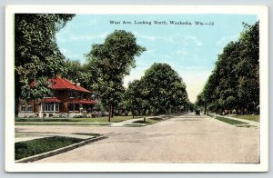 Waukesha WI~Big Home w/Bay Windows~Stone Porch~West Ave Looking North~1920s