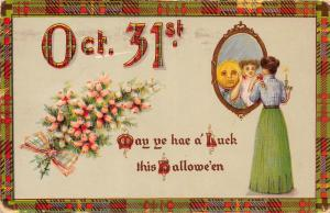 E14/ Halloween Holiday Postcard c1910 Martins Ferry Ohio Woman Reflection Luck11