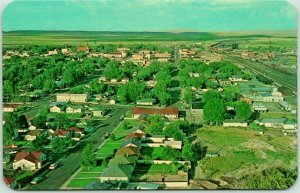 1950s Rawlins, Wyoming Postcard Bird's-Eye Panorama View from Monument Hill