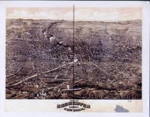 Panoramic View circa 1880 NY, Rochester, New York