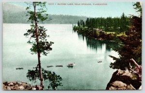 Spokane Washington~Birdseye From Rocks: Hayden Lake~Boats in Line~1908 Postcard
