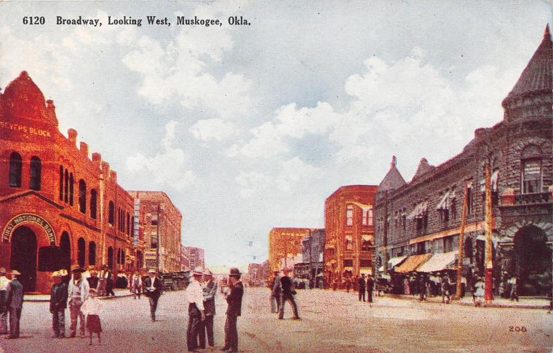 Muskogee Oklahoma~Broadway West~Severs Block~Bank~Boy in Street~1908 Haffner PC