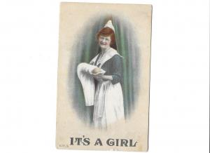 It's a Girl Old Fashioned Nurse Birth Baby Announcement 1913