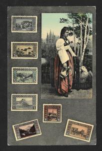 BOSNIA & HERZEGOVINA Stamps on Postcard Woman by Tree Used c1910s