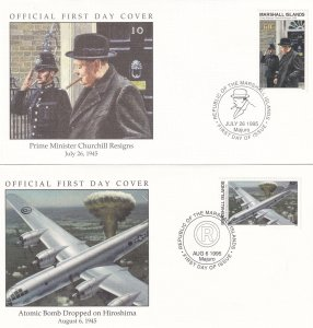 Atomic Bomb Dropped On Hiroshima Winston Churchill Resigns 2x First Day Cover