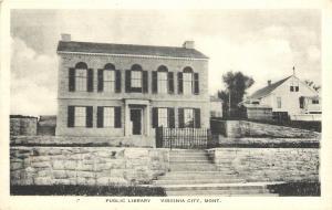 Virginia City Montana~Public Library~Stone Wall~House~1930s Albertype Postcard