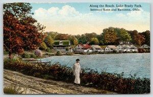Kent-Ravenna Ohio~Lake Brady Park Beach Cabins~Woman Walks~Rutted Dirt Road~1910