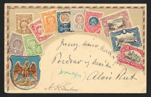 MEXICO Stamps on Postcard Embossed Shield Used c1905