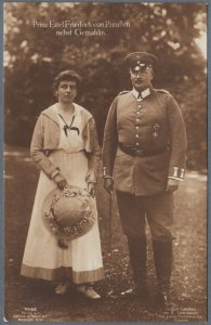Old Postcard Prince Eitel Friedrich of Prussia With His Wife