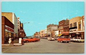 Devils Lake ND~4th Street~Ben Franklin~Carlson's Bakery~1950s Station Wagon~1966