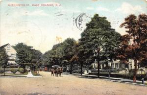East Orange New Jersey~Washington Street~Horse & Buggy Approaching~1907 Postcard