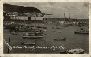 Native Market Panama at High Tide Real Photo Postcard c1915