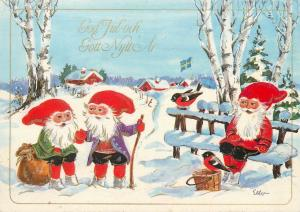 Dwarfs winter fantasy Sweden artist modern postcard God Jul New Year