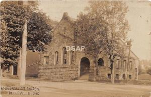 B19/ Belleville Ohio Postcard Real Photo RPPC 1910 Universalist Church Building