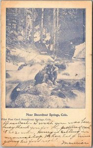 STEAMBOAT SPRINGS Colorado Postcard Man & Dog / River Scene 1906 Cancel