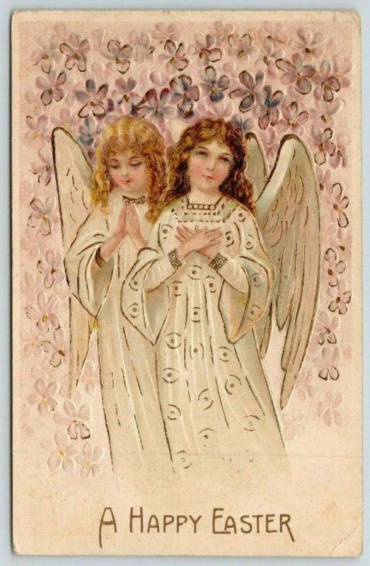 Easter~Blonde Brunette Angel Girls~Violets Flower Shower~Gold Leaf Emboss~BW 305