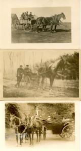 3 RPPC's. Horses and Wagons and People (unidentified)