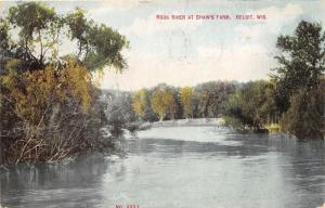 Beloit Wisconsin~Rock River Scene @ Shaw's Farm~Overhaning Trees on Shore~1910