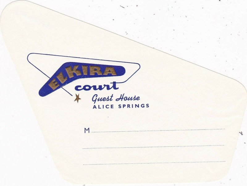 Australia Alice Springs Elkira Court Guest House Vintage Luggage Label sk3765