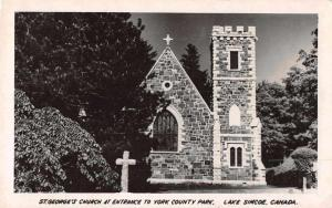 Lake Simcoe Canada St Georges Church Real Photo Antique Postcard J69583