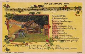 Kentucky Song Card My Old Kentucky Home Stephen Foster Curteich