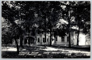 Lake Forest Academy Illinois~Warner House Mostly Hidden Behind Trees RPPC 1940s