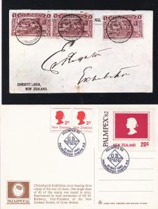 Christchurch New Zealand 1d Claret Stamp 2x First Day Cover Postcard