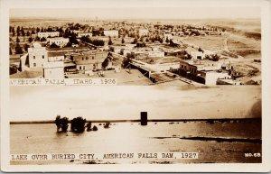 American Falls Idaho ID Buried City Underwater Ghost Town WACO RPPC Postcard E73
