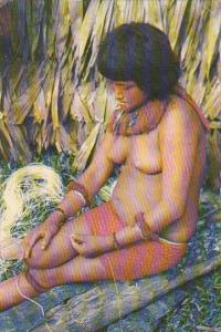 Colombia Typical Yaguan Indian In The Amazon River Nude Topless 1962
