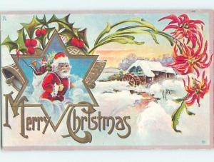 Pre-Linen christmas SANTA CLAUS CARRYING TOY SACK TO SNOW-COVERED HOUSE hr3001