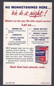 Ca 1940'S PRESTONE ANTI-FREEZE ADV W/MULTI COLORED MONKEYS ON REVERSE