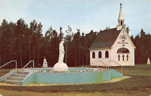 Tracadie N B Canada~St Joseph's Shrine~Statue in Cement Pond~1950s Postcard